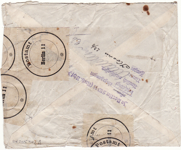 [16938]  PALESTINE - DENMARK…DAMAGED IN MAIL ON ARRIVAL AT BERLIN….  1939 (Aug 18)