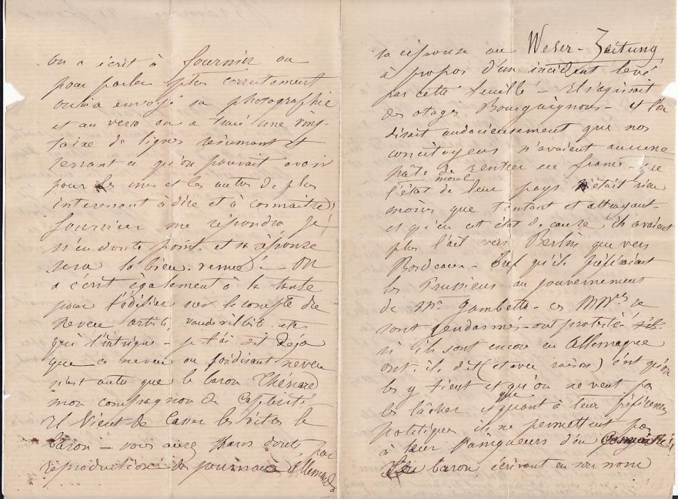 [16993]  GERMANY - FRANCE….FRANCO-PRUSSIAN WAR POW MAIL c/w LETTER…  1871 (Feb 21)