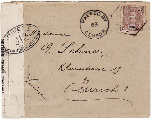 [17029]  PORTUGUESE COLS ZAMBEZIA - SWITZERLAND…..WW1 DOUBLE CENSORED…  1917 (Dec )