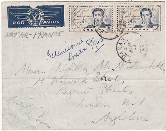 [18611]  SENEGAL - GB…WW2 CONSULAR MAIL by AIR MAIL…  1940 (Jun 8)