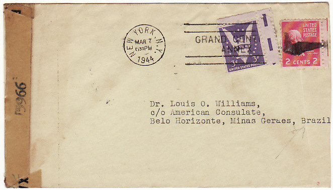 [18673]  USA - BRAZIL…WW2 CONSULAR MAIL from ORCHID SOCIETY…  1944 (Mar 7)