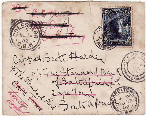 [16974]  AUSTRALIA-SOUTH AFRICA-GB [TASMANIA to STANDARD BANK WELL TRAVELLED ITEM]  1902(Jun 14)