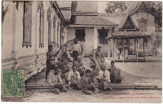 [15498]  CAMBODIA - FRANCE... POST CARD SHOWING MUSICIANS..   1908 (May 14)