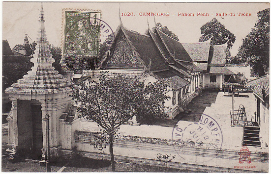 [15502]  CAMBODIA - FRANCE...POST CARD of TEMPLE…  1906 (Jun 2)