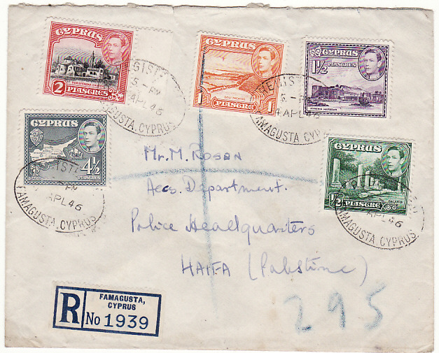 [18537]  CYPRUS - PALESTINE …1946 to POLICE HQ, HAIFA from SS