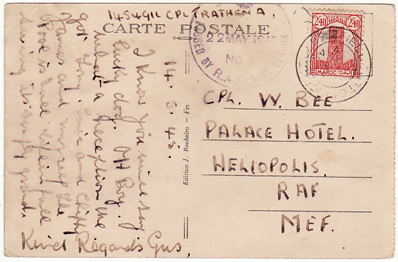 [18569]  MOROCCO - EGYPT…RAF BASE CENSOR No. 2….  1945 (May 14)