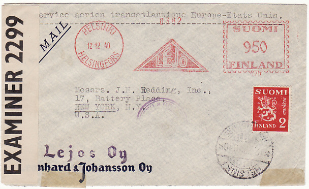 [18729]  FINLAND - USA…WW2 METER FRANKED CENSORED AIRMAIL..  1940 (Dec 12)