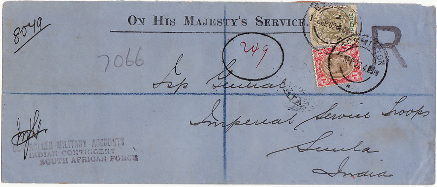 [17862]  SOUTH AFRICA - INDIA..BOER WAR REGISTERED OHMS INDIAN CONTINGENT MAIL ...   1902 (Sep 1)