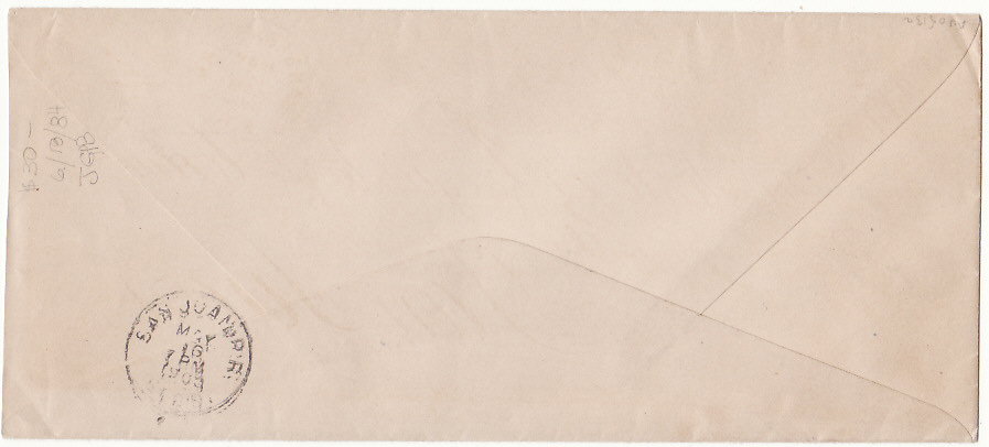 [18407]  PUERTO RICO…1900 ENVELOPE LOCALLY USED…  1900 (May 16)