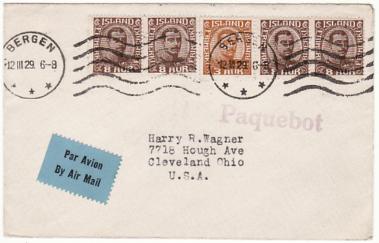 [16117]  ICELAND/NORWAY-USA [AIRMAIL-PAQUEBOT]  1929(Mar 12)