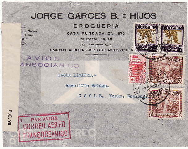 [16575]  COLOMBIA-GB [WW2-AIRMAIL-CENSORED]  1940 (Jun 22)