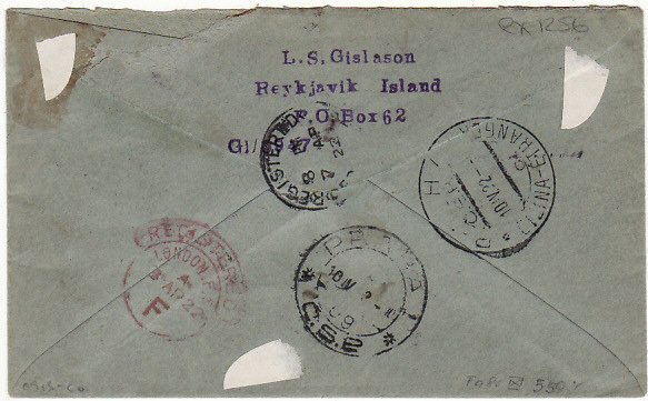 [17107]  ICELAND-CZECHOSLOVAKIA [REGISTERED WINDOW ENVELOPE]  1922 (Mar 20)