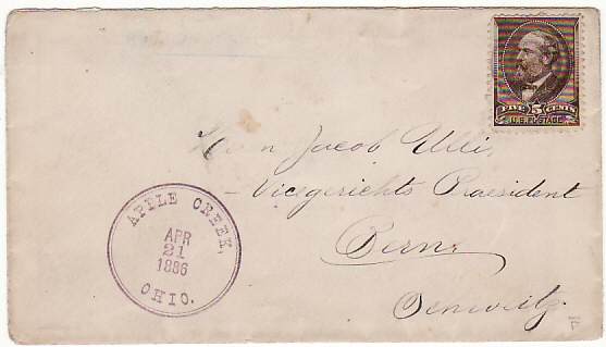 [17135]  USA-SWITZERLAND [1886 APPLE CREEK, OHIO to BERN via TPO]  1886(Apr 21)