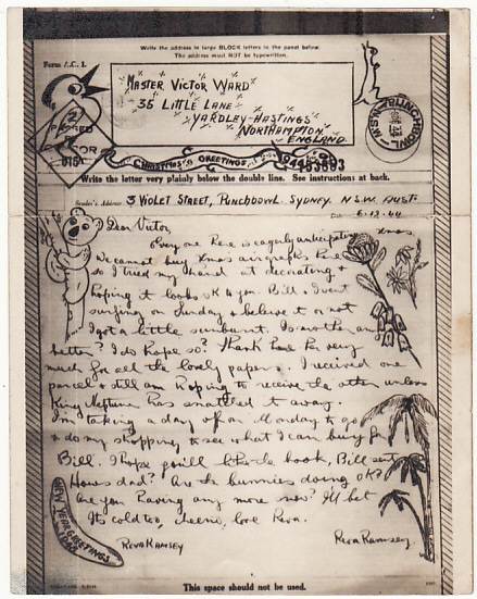[17198]  AUSTRALIA-GB [1944 HAND ILLUSTRATED CHRISTMAS GREETING