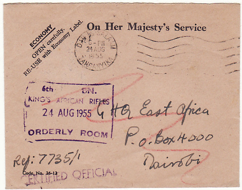 [17471]  TANGANYIKA-KENYA-GB.. 1955 MAU MAU REBELLION KINGS AFRICAN RIFLES & RE-USED...  1955 (Aug 24)
