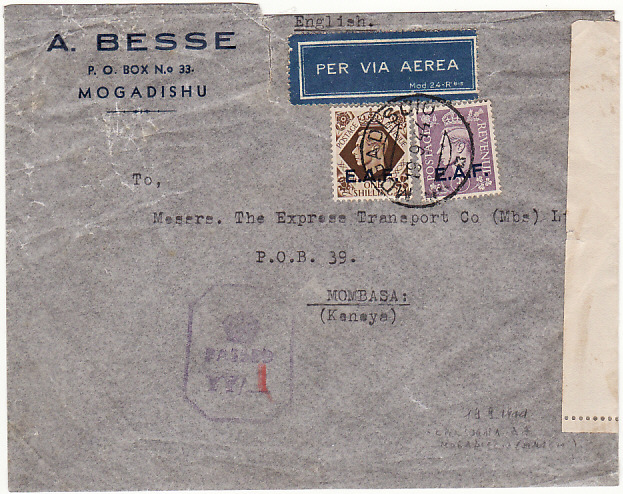 [17578]  B.O.F.I.C....ITALIAN SOMALILAND CENSORED AIRMAIL to KENYA...   1944 (Sep 19)