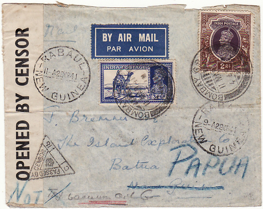[16814]  INDIA - NEW GUINEA...PAPUA WW2 AIRMAIL CENSORED….  1941 (Mar 11)