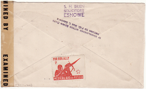 [17086]  SOUTH AFRICA-USA [WW2 ZULULAND NATAL CENSORED PATRIOTIC]  1943(Dec 21)