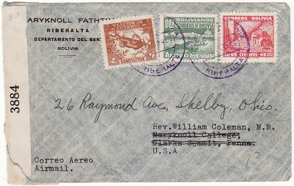 [18535]  BOLIVIA - USA…WW2 DOUBLE CENSORED in BOLIVIA & USA…  1942 (Jun 28)