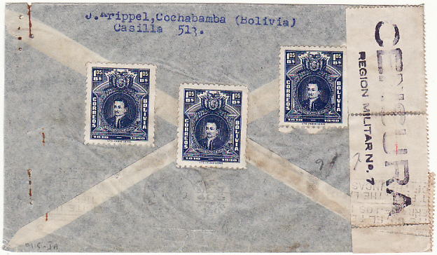 [18571]  BOLIVIA - PERU..WW2 CENSORED AIRMAIL ...   1944 (May)