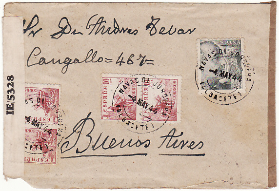 [17585]  SPAIN - ARGENTINA..... 1944 DOUBLE CENSORED in SPAIN & TRINIDAD...  1944 (May 4)