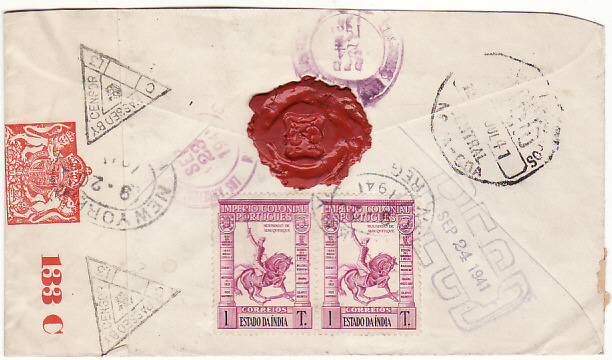 [18962]  PORTUGUESE INDIA - USA… WW2 REGISTERED CENSORED ...  1941 (Jul 12)