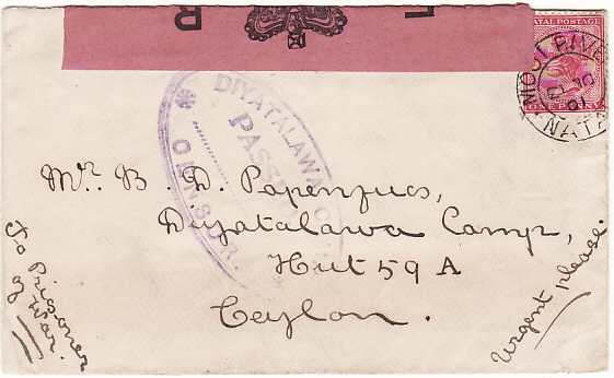 [18991]  SOUTH AFRICA - CEYLON….BOER WAR POW MAIL….  1901 (Dec 13)
