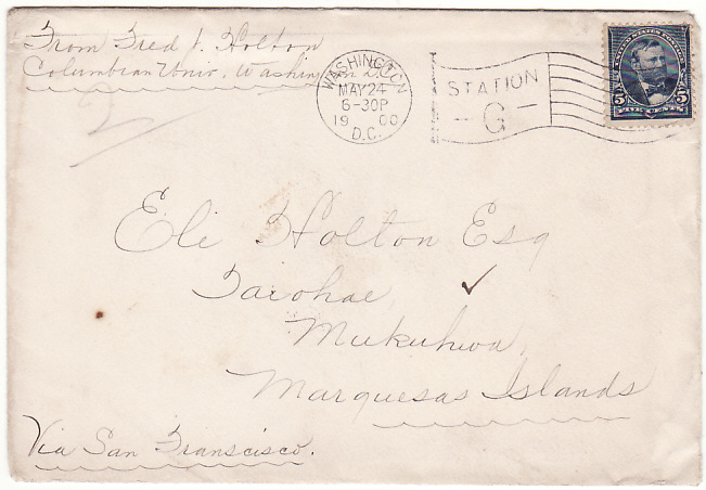 [17149]  USA-TAHITI [1900 TO MARQUESAS Is via TAHITI]  1900(May 24)