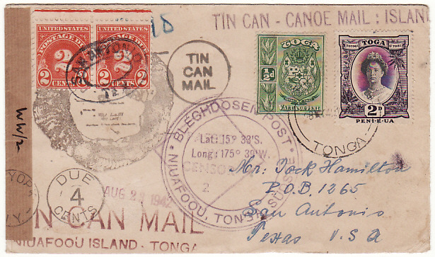 [19159]  TONGA - USA...WW2 CENSORED & TAXED TIN CAN MAIL…  1942 (May 28)