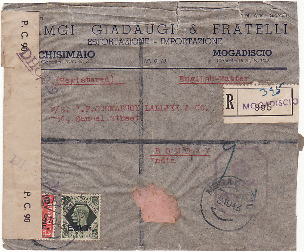 [19192]  ITALIAN SOMALILAND - INDIA…B.O.F.I.C. CENSORED REGISTERED & FOUND OPEN & DAMAGED…  1943 (Oc t 8)