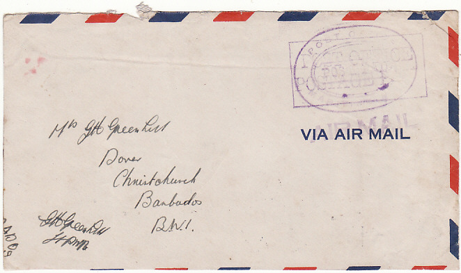 [15642]  BERMUDA - BARBADOS…WW2 NAVAL MAIL…  1945 Stampless airmail envelope with small fault to top & opened 2 sides to Christchurch cancelled boxed violet Post Office /Postage Paid & overlaid by oval Post Office/Post Paid/Maritime Mail hand stamp with below unframed Air Mail & on reverse Barbados GPO (5 Jun)