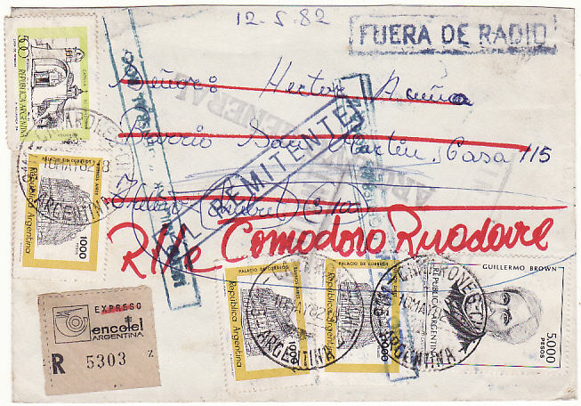 [16243]  ARGENTINA…...FALKLANDS WAR PERIOD REGISTERED & RETURNED MILITARY MAIL…  1982 (May 10)
