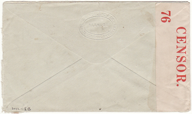 [16578]  BERMUDA - USA...WW2 CENSORED with UNRECORDED PC 102 NUMBER..  1940 (Aug 8)
