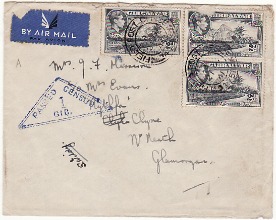 [17672]  GIBRALTAR - GB...DIFFERENT STYLES of MILITARY TRIANGULAR CENSOR..  1941(Apr 21 & May 21)