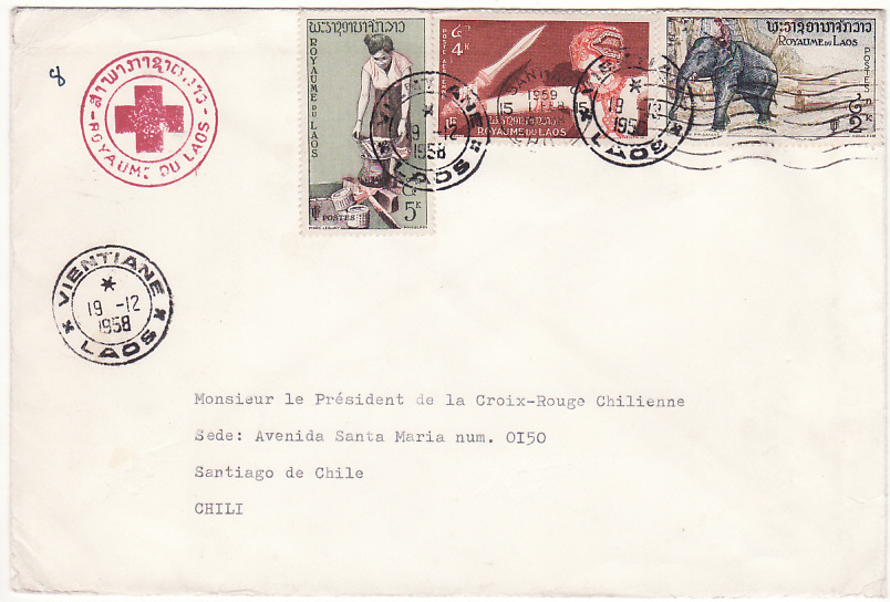[19231]  LAOS - CHILE…1958 RED CROSS.....  1958 (Dec 18)