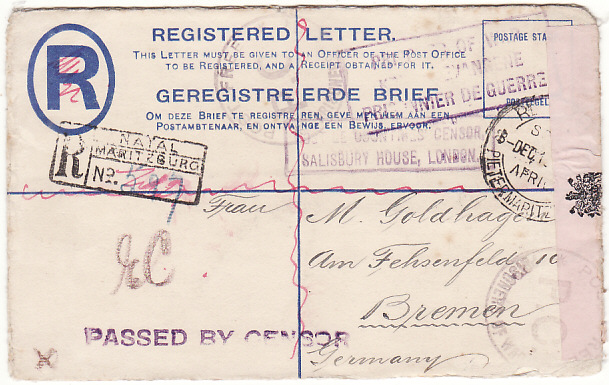 [19406]  SOUTH AFRICA - GERMANY…WW1 HOSTILE COUNTRIES CENSOR..  1915 (Dec 8)