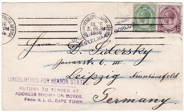 [19409]  SOUTH AFRICA - GERMANY..WW1 UNDELIVERABLE WAR…  1914 (Jul 16)