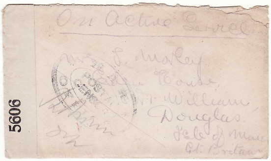[19412]  GREAT BRITAIN …WW1 25th BN. MIDDLESEX REGT. with WAR OFFICE CENSOR..   1916 (Nov 2)