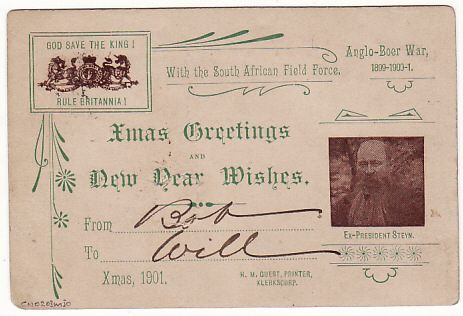 [5796] BOER WAR-GB [PICTORIAL XMAS GREETING CARD] 1901(Nov 29)