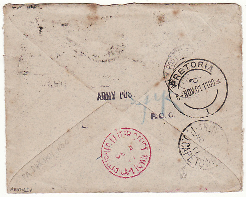 [16465]  SOUTH AFRICA..BOER WAR NURSES MAIL GONE - NO ADDRESS...  1901(Nov 2)