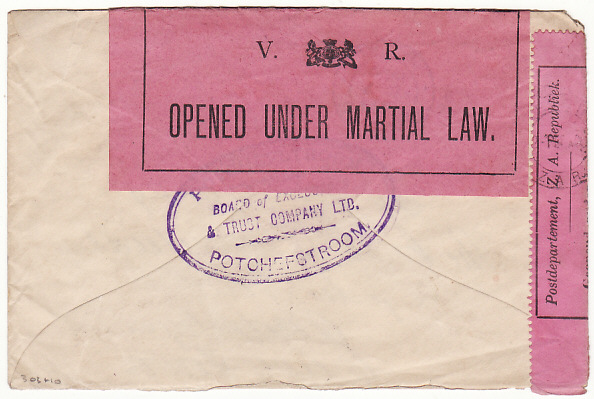 [17740]  BOER WAR....TRANSVAAL - COGH... DOUBLE CENSORED & STOPPED BY THE CENSOR  1900 (Jan 31)