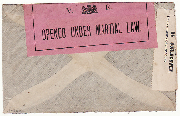 [17741]  BOER WAR...TRANSVAAL DOUBLE CENSORED & STOPPED BY THE CENSOR...  1899 (Oct 16)