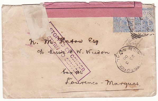 [19401]  SOUTH AFRICA - PORT. EAST AFRICA…BOER WAR STOPPED BY CENSOR  1900 (Mar)