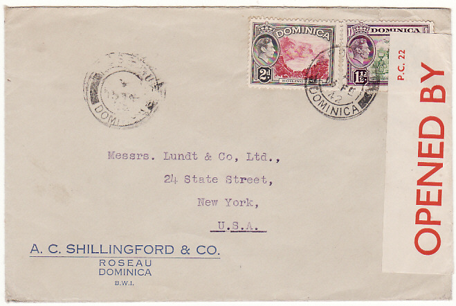 [10180]  DOMINICA-USA [WW2-PC 22 CENSOR LABEL-GPO CENSOR]  1942(Feb 13)