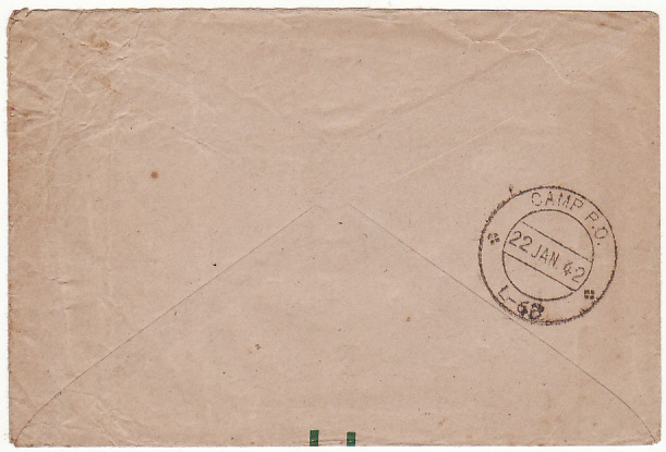 [15591]  CYPRUS-GB….HONOUR ENV with CAMP P.O. L-68…  1942(Jan 22)