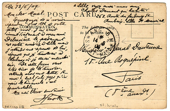 [15374]  CHANNEL Is-FRANCE...St. MALO BOITE MOBILE..   1909(Jun 14)