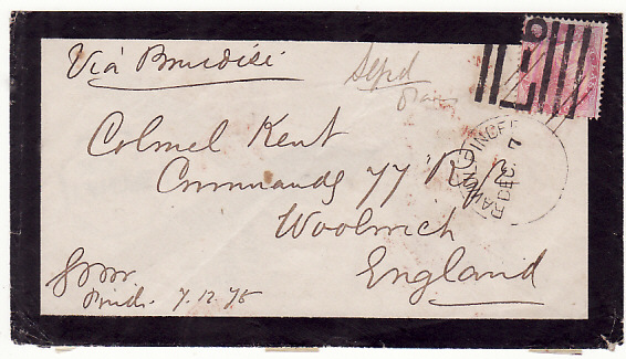 [13970]  INDIA-GB...NORTH WEST FRONTIER MOURNING ENVELOPE..  1875 (Dec 7)