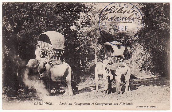 [15499]  CAMBODIA-FRANCE..POST CARD showing ELEPHANT ENCAMPMENT from HOSPITAL...   1915(May 1)