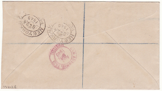 [19499]  BERMUDA-USA ..WW2 REGISTERED AR & CENSORED…  1940 (Aug 21)