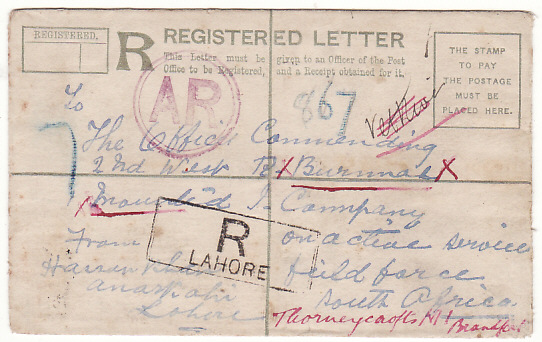 [18737]  INDIA - SOUTH AFRICA…BOER WAR BURMA CONTINGENT AR REGISTERED…  1901 (Apr 24)